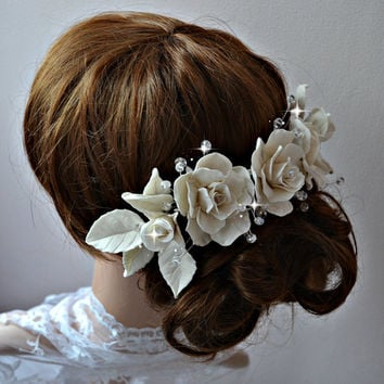 Bridal headpiece, Romantic wedding hair piece, Bridal hair adornmets, Large bridal hair comb, Porcelain hair roses, Summer wedding headpiece