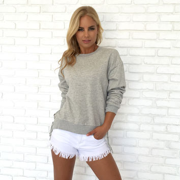 Side Line Tie Up Sweater In Grey
