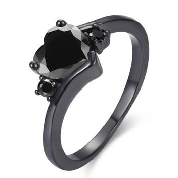 Black Color Engagement Ring For Women