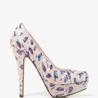FOREVER 21 Sequined Tulip Print Pumps Pink/Multi 6.5