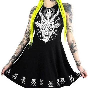 New Cotton High Quality Women Print Dress Punk Black Sleeveless Vest Dress Summer Vestido