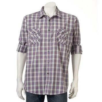 Axist Ombre-Plaid Roll-Tab Casual Button-Down Shirt