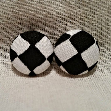 Checkered Black and White fabric covered button earrings- Check Mate