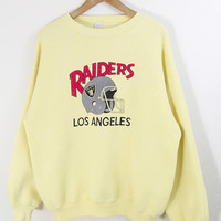 LA RAIDERS SWEATSHIRT // los angeles raiders pullover / yellow jumper / pastel / nfl / football / team sports / 80s vintage / adult / large