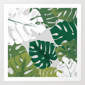 Marble Monstera Art Print by littlebiscuit
