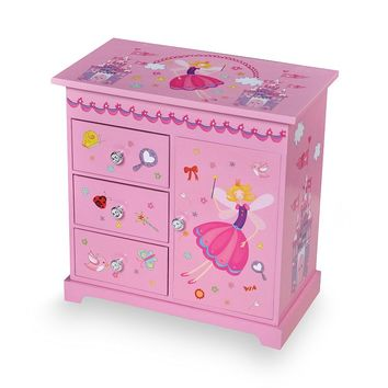 Mele & Co. Wood Musical Ballerina Jewelry Box (Pink)