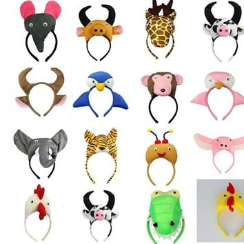 Animal Ear Headband Tie Tail  Party Tiger Dog Monkey Pig Panda Milk Horse Cosplay Headwear Party Favor  Halloween