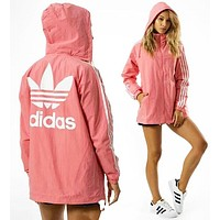 Adidas Fashion Casual Print Zipper Cardigan Sweatshirt Jacket Coat Windbreaker Sportswear Pink