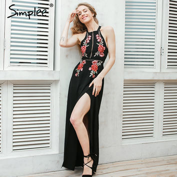 Simplee Embroidery chiffon halter backless sexy dress Women summer 2017 evening long dress Party elegant black vintage dress