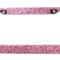 Pink Encrusted Rhinestone License Plate Frame W/Hearts, Pink & Silver Crystal Bling Frame w/Screw Cap Covers, Bling Car Accessory, Car Bling