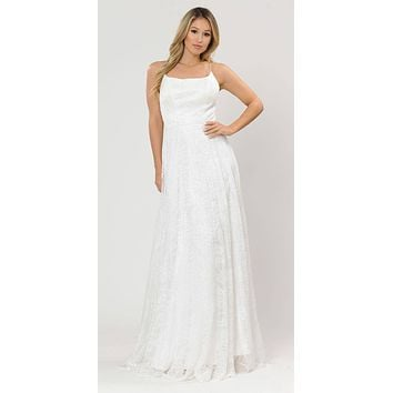 Lace-Up Back A-Line Metallic Lace Long Prom Dress Off White