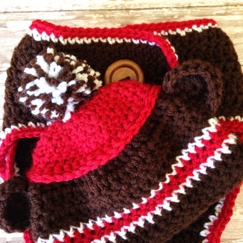 Crochet Sock MonkeyHat and Diaper Cover Set  for Baby - Newborn to 6 months / Photo Prop / Baby Boy or Girl Gift