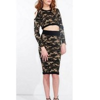 Confidential Camo Two-Piece Crop Top/Pencil Skirt