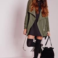 Missguided - Waterfall Parka Coat Khaki