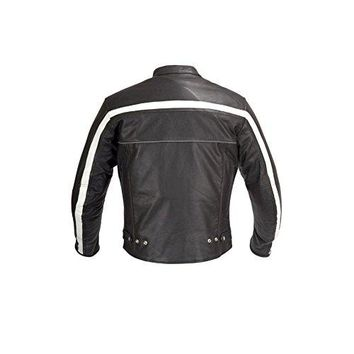 Men Motorcycle Biker Old School Armor Leather Jacket Black MBJ023 (XS)