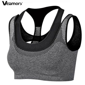 VEAMORS Women Absorb Sweat Quick Drying Running Vest Shockproof Sports Bra,Yoga Fitness Vest Workout Tank Top Seamless Underwear