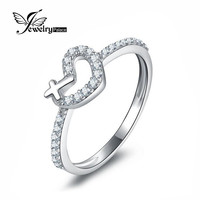 Heart Cross 925 Sterling Silver White Gold Plated Love Promise Ring For Women Paved Micro Cubic Zircon Fine Jewelry For Women