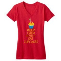 Keep Calm and eat cupcakes 17 design on New Red DTG Juniors Concert V-Neck Tee