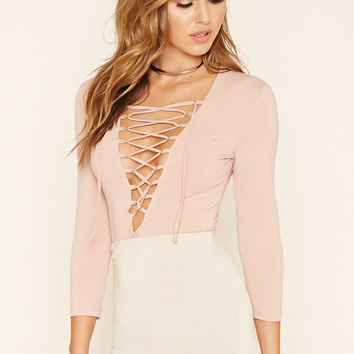 Plunging Lace-Up Bodysuit