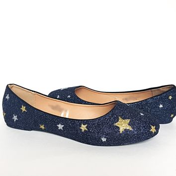 Black Glitter Flats, Silver Gold Star Ballet Shoes