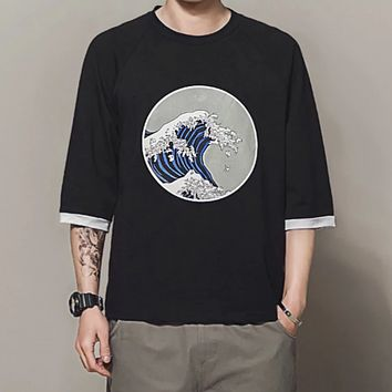 The Great Wave Three Quarter Sleeve Tee