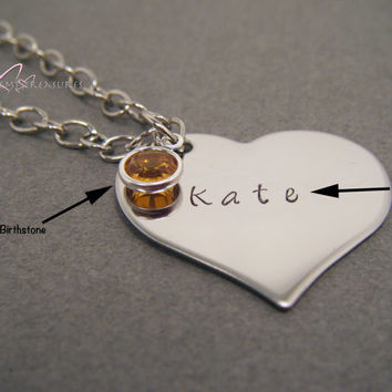Personalized Necklace, Birthstone Necklace, Gift for Her, Hand Stamped Necklace, Personalized Gift, Stainless Steel Heart, Heart Necklace