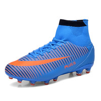 2016 Big Size Men Football Cleats Mens High Ankle Football Shoes Leather Soccer Boot With Ankle Men Soccer Cleats Football Boots