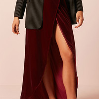 Velvet High-Low Tulip Hem Skirt
