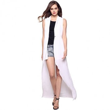 Women Fashion Casual Lapel Sleeveless Single Button Long Irregular Vest Outwear Coat
