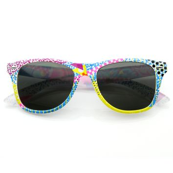 Totally Rad Awesome 80's Graffiti Print Horned Rim Sunglasses 8547