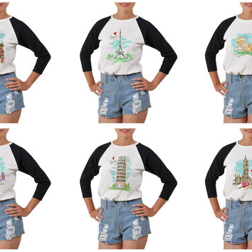 Women's Cities's drawing-3 Printed Elbow Sleeves T- Shirt WTS_03