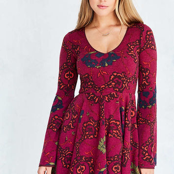 Ecote Printed Knit Bell-Sleeve Mini Dress - Urban Outfitters