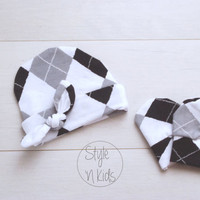 Cute Newborn outfit newborn baby hat with Tied KNOT Grey White baby boy hat baby hat newborn baby girl hospital hat baby girl hat