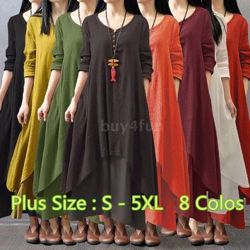 New Plus Size Women Casual Loose Dress Solid Long Sleeve Cotton Linen Boho Long Maxi Autumn Dress  (Plus Size : S - 5XL)