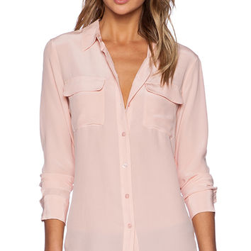 Equipment Slim Signature Vintage Wash Blouse in Pink