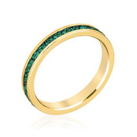 Stylish Stackables Eternity Green Crystal Ring, size : 10