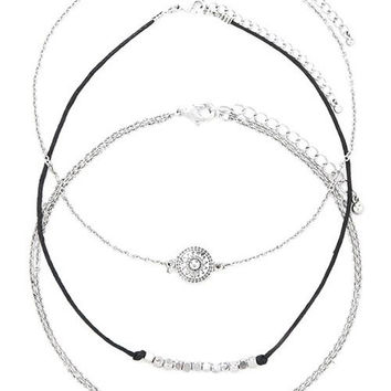 Silver Alloy Oval Beaded Engraved Sun Chokers