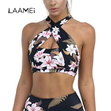 Laamei Halter Tank Tops Women Push Up Floral Printed Short Cloth Lady Female Tunic Brazilain Camis Party Club Top Clothing