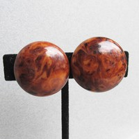 BIG Vintage Marbled Brown Tortoise Shell Bakelite Button Earrings