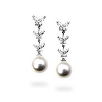Isabelle's Sterling Silver White Faux Pearl Drop Earrings