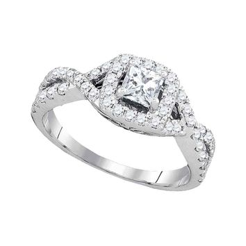 14kt White Gold Womens Princess Diamond Solitaire Twist Bridal Wedding Engagement Ring 1.00 Cttw