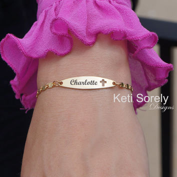 Engraved Bar Bracelet with Cross - Engrave Your Name, Date, Psalm or Initials - 14K Gold Filled
