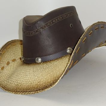 Straw Cowboy Hat OUTLAW LEATHER by Austin, just one