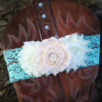 Lace Wedding Garter, Blue Rustic Boot Band, Pink Ivory Flower Garter, Wedding Lingerie, Vintage Lace Garter, Bridal Party Accessories