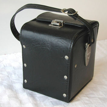 Marsand Camera Case Vintage Black Cube Tote With Green Interior