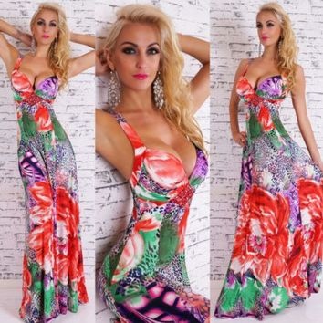 MDIGIX3 Floral Print Prom Dress Sexy Sleeveless Deep V One Piece Dress [4919469956]