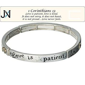 Love is Patient Love is Kind Silvertone Bracelet 1 Corinthians 13 with Bookmark by Jewelry Nexus