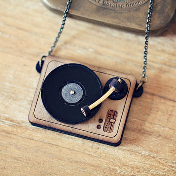 DJ Turntable Necklace or Brooch. - Personalized quote name music jewelry