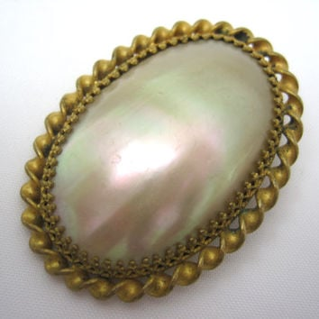 Victorian Shell Brooch - Mother of Pearl Shell Antique Jewelry