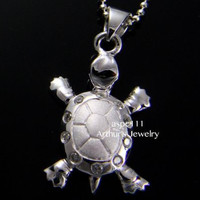 STERLING SILVER 925 HAWAIIAN SEA TURTLE PENDANT CZ SMALL 13MM